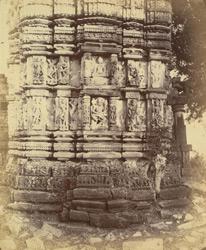 Close view of base of tower showing moulding and sculpture, large temple, Narayanpur, Raipur District